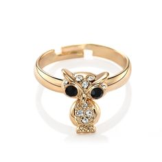 Shop for Owl Pinky Rings, OKA Jewelry Rhinestone Movable Body Owl Pinky Ring with adjustable band will bring a good mood to your daily life.