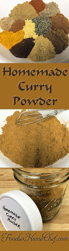 Homemade Curry Powder - Curry powder is actually a blend of up to 20 spices, herbs & seeds. Widely used in Indian cooking, authentic Indian curry powder is freshly ground each day & will vary dramatically depending on the region & the cook. This is my ori Homemade Spices, Homemade Seasonings, Homemade Curry Powder, Comida India, Do It Yourself Food, Tandoori Masala, Curry Dishes, Vegan Dishes, Seasoning Mixes