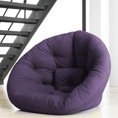 Large Purple Nest Relax Futon Chair Bed Mattress Bedroom Dorm