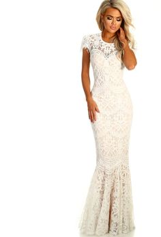 cf8911640ca Star Of The Show White Lace Fishtail Maxi Dress