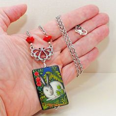 Rabbit Necklace Cricket Bunny Pendant by LavenderRabbit on Etsy