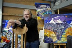 Scottish artist John Lowrie Morrison, also known as Jolomo in his studio in Tayvallich, Argyll, on the west coast of Scotland (photography by Gary Doak) West Coast Scotland, Cat Art, Impressionist, Studio Spaces, Studios, Photography, Painting, Image, People