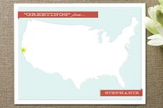 """""""Greetings From"""" Personalized Stationery on minted.com, starting at $35.00 (Idea from Mindy Kaling's blog!)"""