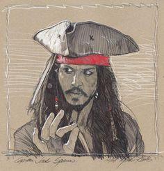 Jack Sparrow Drawing, Jack Sparrow Tattoos, Sparrow Art, Johnny Depp Characters, Art Assignments, Pirate Art, Johny Depp, Art N Craft, Captain Jack