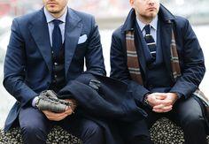 Blue suits.