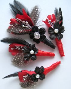 Set of 4 Rockabilly Groom and groomsmen boutonnieres