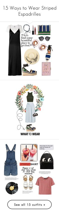 """15 Ways to Wear Striped Espadrilles"" by polyvore-editorial ❤ liked on Polyvore featuring waystowear, stripedespadrilles, Eugenia Kim, Lanvin, Visvim, rag & bone, Martha Stewart, Christian Dior, Maybelline and Summer"