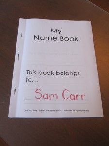 My Name Book (add different pages with each letter of the child's name for them to practice throughout the year)