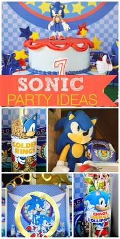 You'll find Sonic the Hedgehog and his golden rings, along with party decorations and cake, at this boy birthday party!  See more party ideas at CatchMyParty.com!