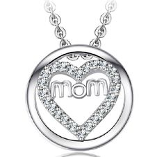 Caring Mom's Platinum Planted 925 Sterling Silver Zircons Pendant For Mother's Day