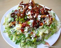California Pizza Kitchen: BBQ Chicken Chopped Salad. I made mine without the jicama (couldn't find it) and used a chipotle dressing instead of the ranch (we don't care for ranch). Also grilled the chicken-very good!