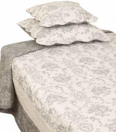 Överkast quilt pläd grå toile vågad kant 3 storlekar shabby chic lantlig stil