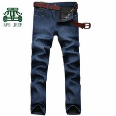 (32.40$)  Buy here - http://ai0vw.worlditems.win/all/product.php?id=32767009355 - AFS JEEP 2016 Winter Cashmere Inner Sky Blue Man's Mid Waist Cotton Jeans,Casual Straight Plaid Thin Elasticity Leisure Pants