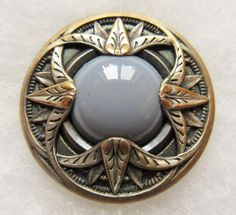 Gleaming Old Antique~ Vtg GAY 90's Metal BUTTON Ornate w/ Dove Grey GLASS Stone