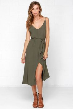 Glamorous One More Tie Olive Green Midi Dress at Lulus.com!