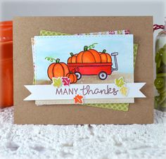 Many Thanks 1 - Scrapbook.com - Adorable thank you card made with Lawn Fawn Stamps and Umbrella Crafts inks.