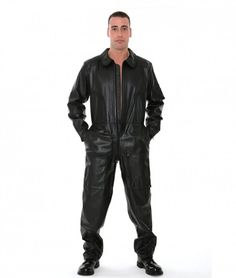 You're sure to be the top gun at the club in these Leather Coveralls. Inspired by the flight suits worn by ace pilots, this coverall will have your style flying high and is sure to get you noticed when you're dancing at the club.  #LeatherOverallsForMen,