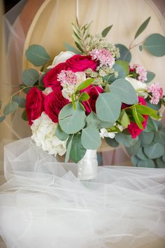 Red and White Rose with Pink Flower and Greenery Bridal Bouquet