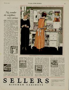 Sellers Kitchen Cabinets Vintage sellers kitchen cabinet ad 2 page (1918)-- i would love this in my