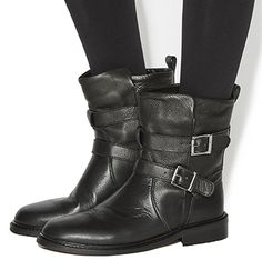 Office Indicate Buckle Biker Boots Black Leather - Ankle Boots