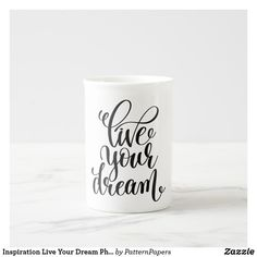 Shop Inspiration Live Your Dream Philosophy Quote Bone China Mug created by PatternPapers. Modern Mugs, Philosophy Quotes, China Mugs, Succulents Diy, Live For Yourself, Bone China, Art For Kids, Dreaming Of You, Wedding Gifts
