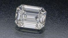 Diamond quality article. Shown is a D grade colourless emerald cut diamond.