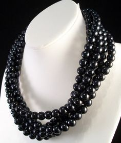 Black Multi Strand Pearl Necklace by jewelsforhope on Etsy, $165.00