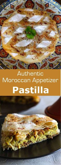 ~Ethnic&chic~ Pastilla is the most emblematic Moroccan appetizer. It consists of a sweet & savory chicken filling that is wrapped in layers of very thin dough. Moroccan Desserts, Moroccan Dishes, Moroccan Food Recipes, Persian Recipes, Moraccan Recipes, Morrocan Food, Bastilla, Arabic Food, Arabic Dessert