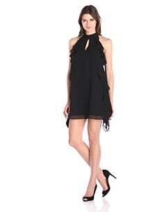 BCBGeneration Ruffle Detail A-Line Dress in Black - http://www.womansindex.com/bcbgeneration-ruffle-detail-a-line-dress-in-black/