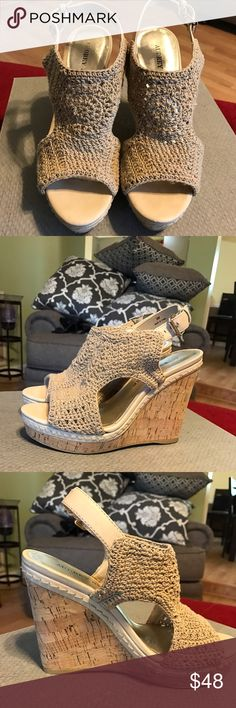 Audrey Brooke Crochet Wedge Sandals Very sexy wedge sandals. Cream crochet and cork wedge. Worn a few times but not enough to wear off stickers there is a little wear on the tip of the heels Audrey Brooke Shoes Wedges