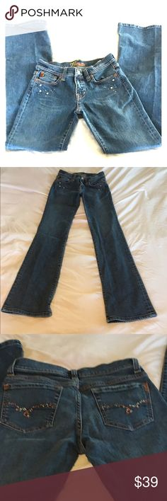 """Miss Me Boot Cut MissMe Jeans Size: 27  Approx. Measurements: Waist: 28.5"""" Inseam Length: 32.25"""" Rise: 7.5"""" Color: Blue Material: Cotton/Spandex Specific Condition Details: Good, Gently Used. Miss Me Jeans Boot Cut"""