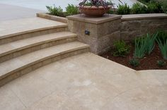 Coeur d' Alene Dark Limestone Sawn Edge Paving and Stairs - Pompadour Finish