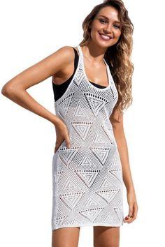 White Geometric Crochet Beach Swim Cover Up Crochet Cover Up, Crochet Fabric, Swim Cover, Beach Covers, Beach Dresses, Stretchy Material, Body Shapes, Swimsuits, Swimwear