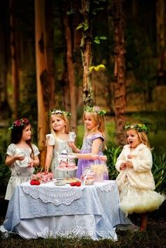 Enchanted tea party. Wouldn't it be fun to do this for our 4 little princesses? I guess Wyatt and Wesley could be the gentlemen serving them.