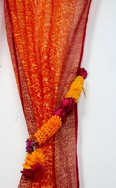 NOW ON SALE To experience our design vision to the fullest, please visit our collection of home decor and accessories at our second Etsy store: https://www.etsy.com/shop/PadminiBoutique?ref=hdr_shop_menu Full Length Sari in BEST SELLER Rust ORANGE with fuschia border  Our vibrant color palette and our signature line of 'Maharani (queen) Sari Curtain inject color to a space and make a beautiful statement. It is semi-sheer Georgette fabric that filters soft light and en...