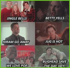 Omg gosh so I love this but. I was singing it out loud and I seriously messed up. Jingle Bells Betty Yells Hiram Go Away Jug Is Hot We All Love Pot. Haha I can t believe I said that. Riverdale Quotes, Bughead Riverdale, Riverdale Funny, Funny Relatable Memes, Funny Jokes, Hilarious, Disney Memes, Riverdale Wallpaper Iphone, Riverdale Netflix