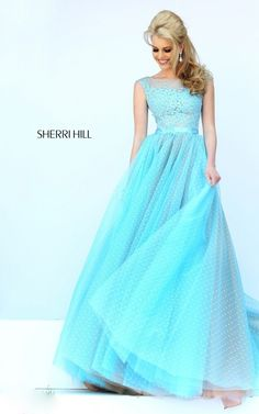Light Blue Sherri Hill 11230 Lace Sequins Ball Gown