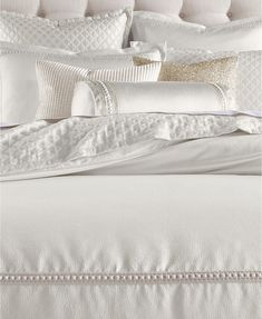 Hotel Collection CLOSEOUT! Ivory Luxe Border Bedding Collection, Created for Macy's & Reviews - Bedding Collections - Bed & Bath - Macy's Ivory Bedding, Bedroom Comforter Sets, Glam Bedding, Neutral Bedding, Bedding Decor, King Comforter, Bedroom Vanity Set, Textured Bedding, Luxury Bedding Collections