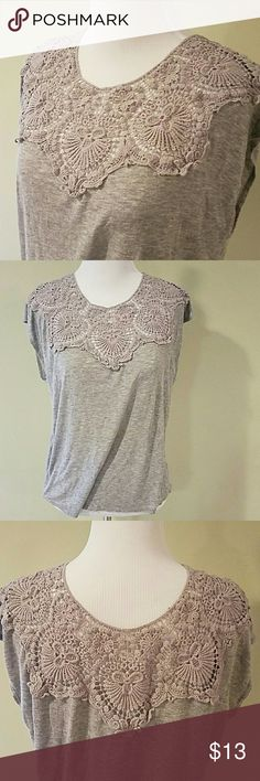 PaulnKC sleeveless top Grey sleeveless loose fitting top in small.  Lace design at the neckline, front and back.  In great condition. paulnKC Tops Tank Tops