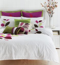 This beautiful bed linen balances the crisp white with just the right amount of colour and pattern.
