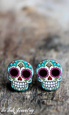 Sugar Skull and Daisies Post Earrings