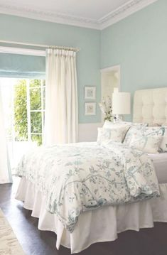 Ideas for the bedroom decor – romantic transitional style. Tufted headboard, white wallcovering in light green wall color Laura Ashley bedding. Blue Bedroom Colors, Relaxing Bedroom Colors, Bedroom With Green Walls, Relaxing Master Bedroom, Light Green Walls, Blue Master Bedroom, Peaceful Bedroom, Warm Bedroom, Master Suite