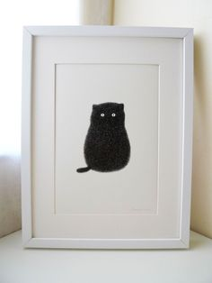 """Nice style for simple animal print art. """"Kitty"""" by Kamwei Fong, Kuala Lumpur, Malaysia Crazy Cat Lady, Crazy Cats, I Love Cats, Cool Cats, Black Cat Art, Black Cats, Video Chat, Photo Chat, Cat Boarding"""