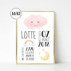 Baby Birth Announcement cloud color Day flowers moon birth poster child room decoration print birth - Home Page Star Nursery, Nursery Art, Girl Nursery, Nursery Decor, Birth Pictures, Nursery Pictures, Site Bebe, Baby Room Themes, Baby Posters