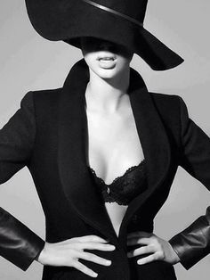 black and white #lingerie #blazer #hat #style #fashion