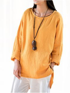 Vintage Solid O-Neck Long Sleeve Loose Women Linen Blouse