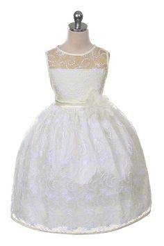 Nana. Ivoren jurkje heeft een geborduurde kanten overlaag met een speciaal lijfje. Het bovenste deel van het lijfje is doorzichtig en mooi afgewerkt met een satijnen band. Kinderbruidsmode, kinderbruidskleding, bruidsmeisjes jurken, bruidsmeisjes jurk, bruidskinderen, bruidskinderkleding, flower girls.