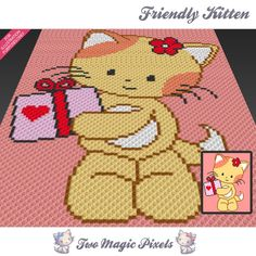 Friendly Kitten crochet blanket pattern; knitting, cross stitch graph; pdf…