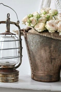. Frame This: Bucket of Roses with Lantern