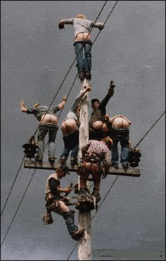 lineman will do anything to get there picture taken...I could see this being our husbands! @Stephanie Rippy-Ainsworth
